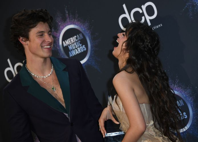 Camila Cabello en Shawn Mendes met hun award.