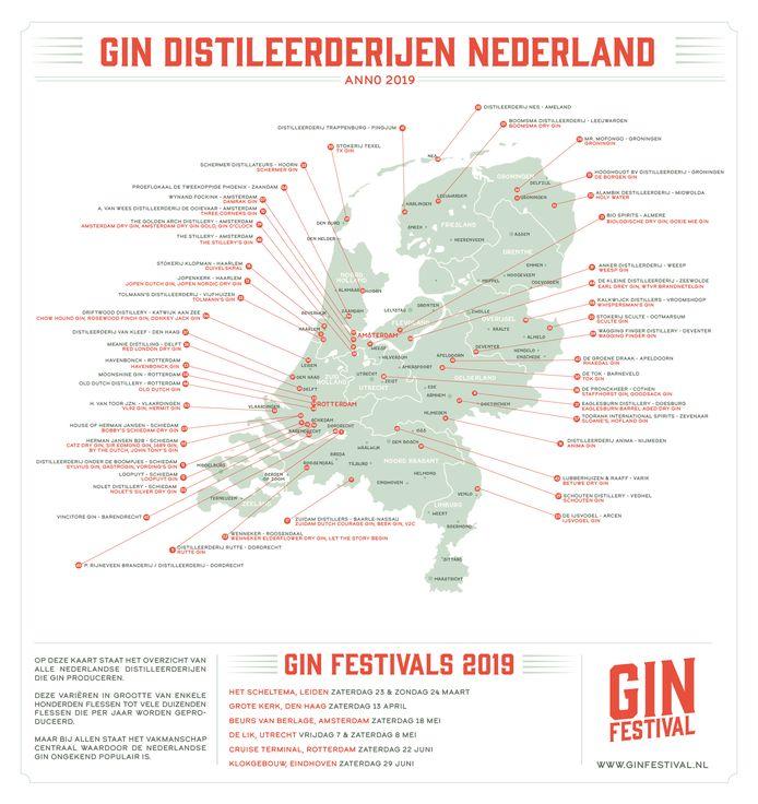 Gin destilleerderijen door heel Nederland.