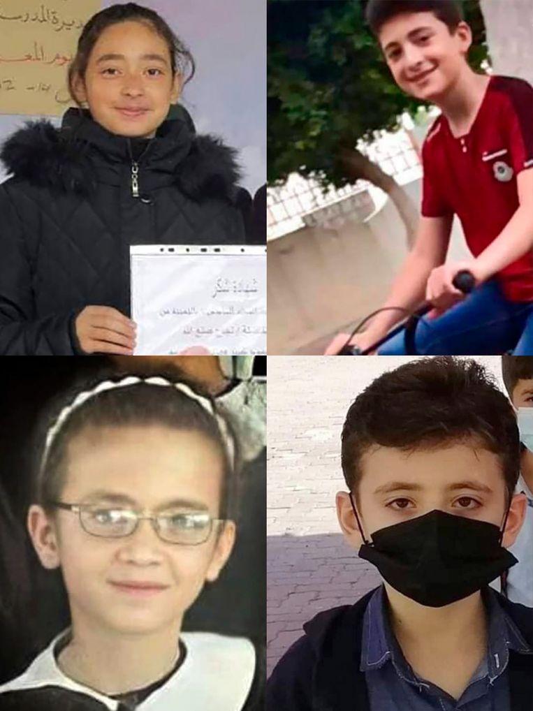 Dima, een briljante studente, haar broers Yazan en Amir en haar zus Mira al-Ifranji. Beeld NYT