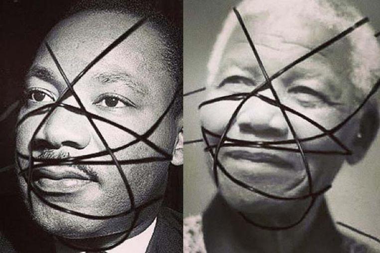 Madonna gebruikte deze bewerkte foto's van Martin Luther King Jr.  en Nelson Mandela voor de marketingcampagne van haar laatste album. Beeld rv