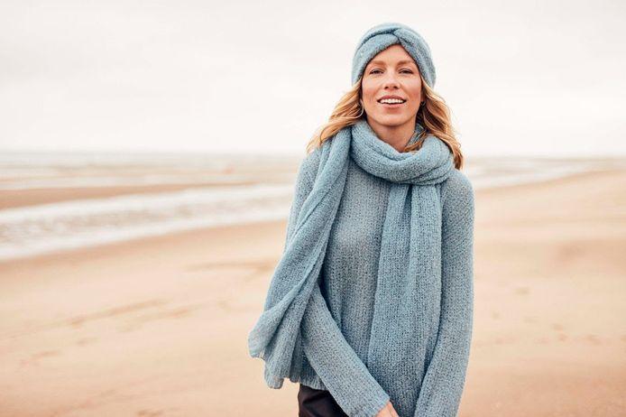 Ontwerpster Ellen Kegels in de nieuwe knitwearcollectie van Mayerline.