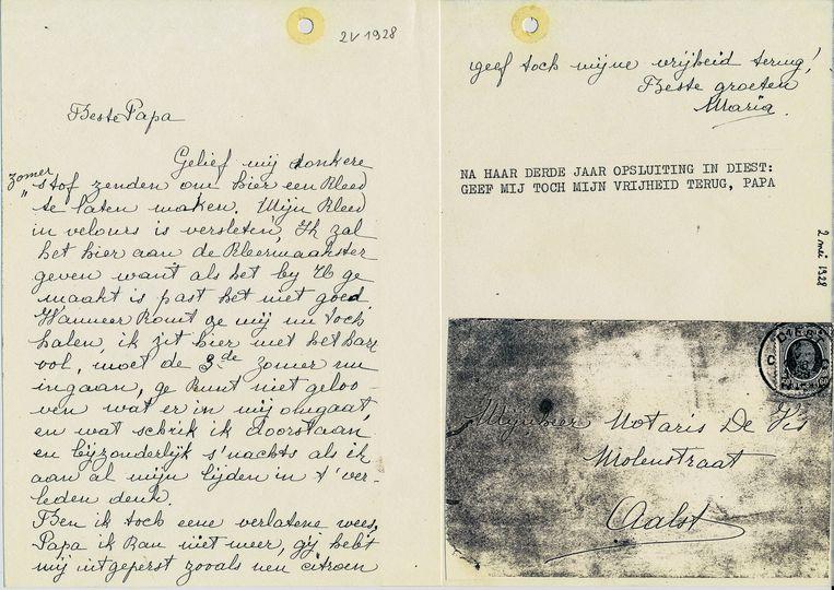 Een van de brieven die Maria schreef aan haar vader waarin ze vraagt haar niet langer op te sluiten.