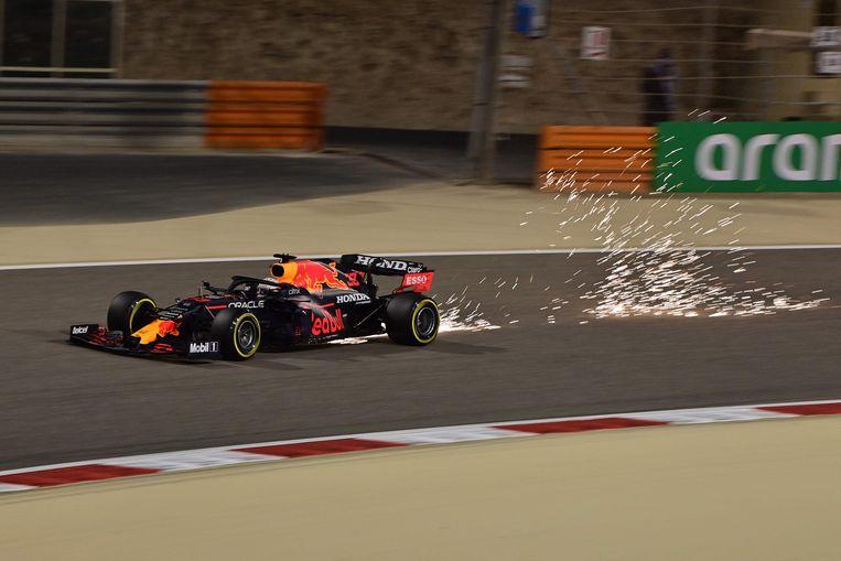Max Verstappen op het circuit in Bahrein. Beeld AFP