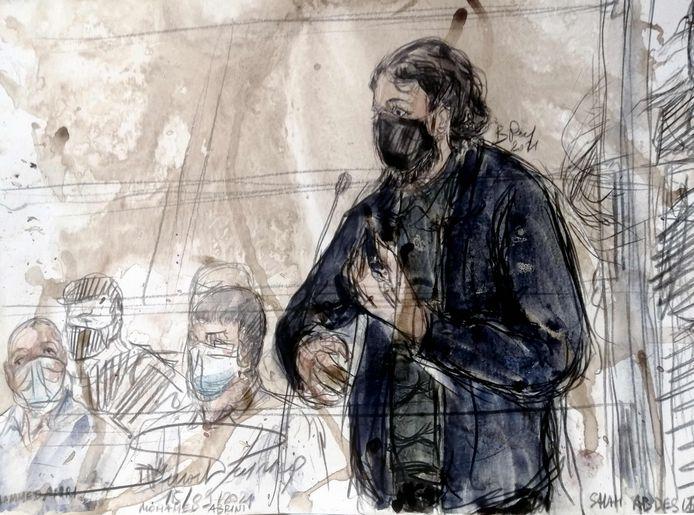 Salah Abdeslam aan het woord in de rechtbank in Parijs.