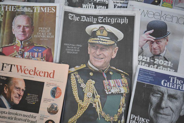 Prins Philip op de voorpagina van de Britse kranten. Beeld AP