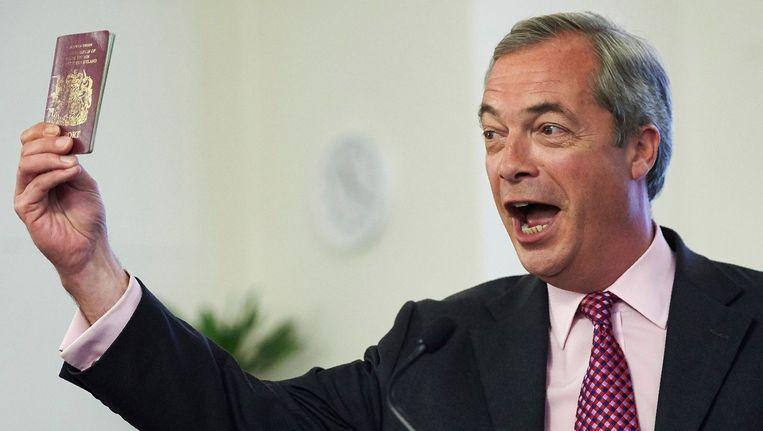 UKIP-leider Nigal Farage tijdens een anti-Europa-toespraak woensdag. Beeld afp