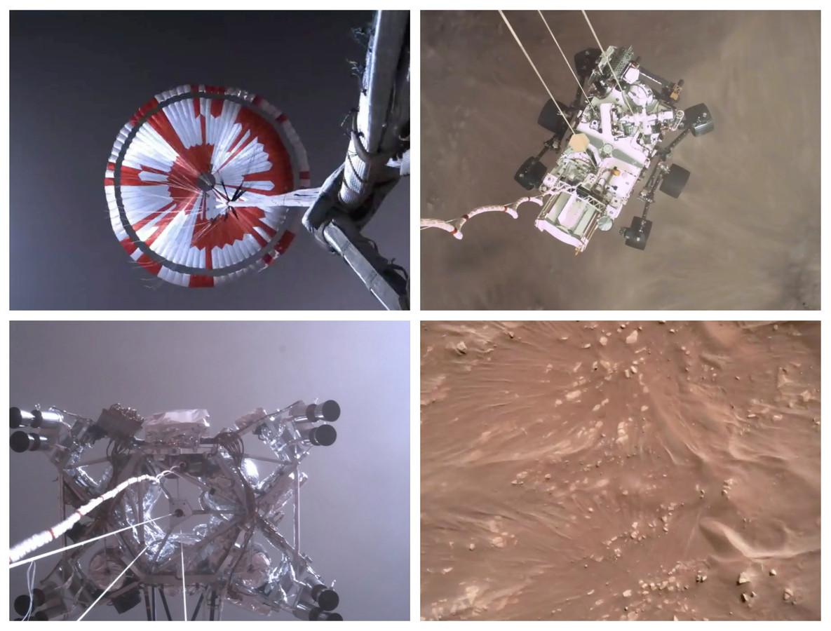 Beelden van de landing van Perseverance op Mars donderdag.
