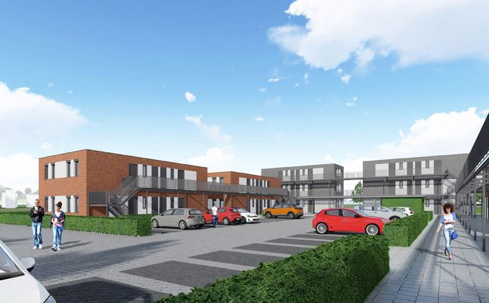 Impressie nieuwbouw voor arbeidsmigranten aan de Leidinglaan aan de zuidkant van Sluiskil.