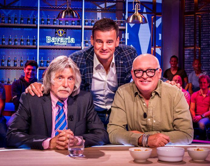 De presentatoren (vlnr) Johan Derksen, Wilfred Genee en René van der Gijp van Veronica Inside.