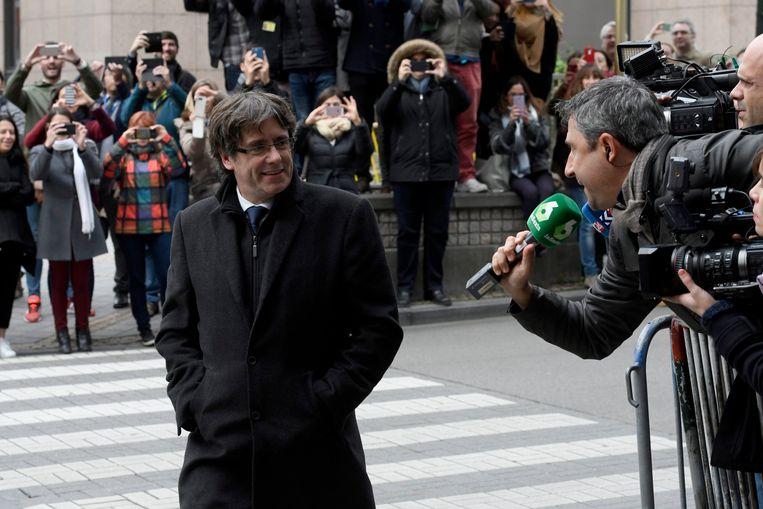 Carles Puigdemont in Brussel. Beeld Photo News