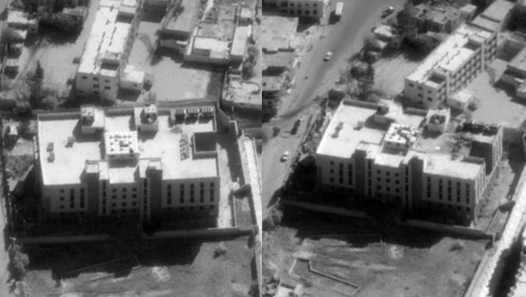 Een van de doelen in Syrië die getroffen is door de luchtaanvallen. Volgens de VS is dit gebouw het financiële centrum van IS Beeld REUTERS