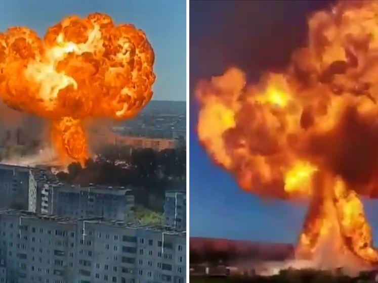 Gigantische explosie bij tankstation in Rusland