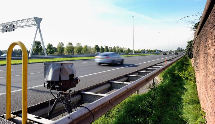 Snelheidscontrole langs de snelweg.