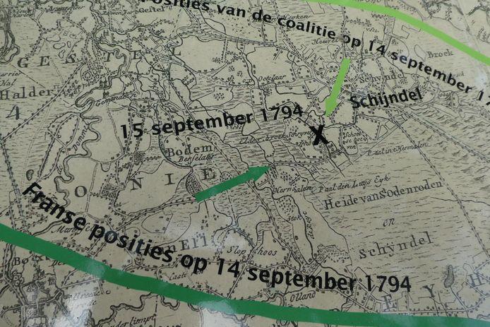 De kaart waar het zich afspeelde in 1794.
