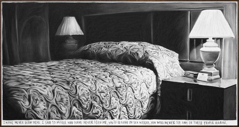 Rinus Van de Velde, 'I have never been here,...', 2020. Charcoal on canvas, artist frame, 140 x 268 cm, 40.000 euro (excl. BTW)   Beeld Courtesy Tim Van Laere Gallery, Antwerp