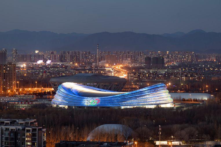 De nieuwe schaatshal in Beijing, een jaar van tevoren klaar voor de Winterspelen van 2022. Beeld Getty Images