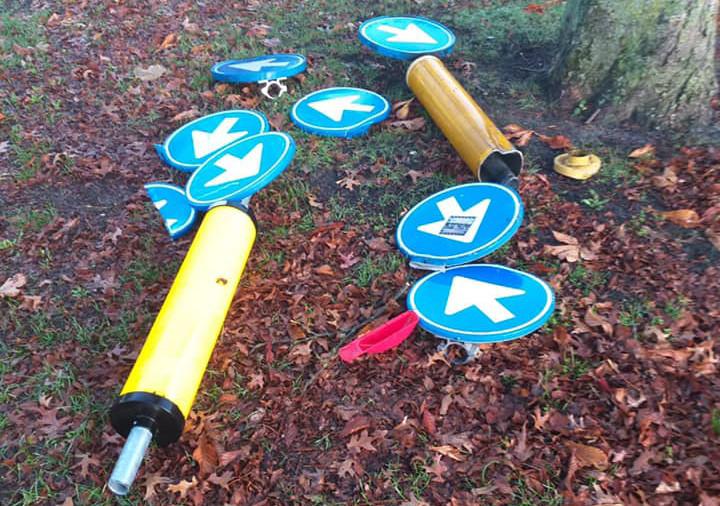 In Heusden werden afgelopen weekend meerdere verkeersborden vernield.
