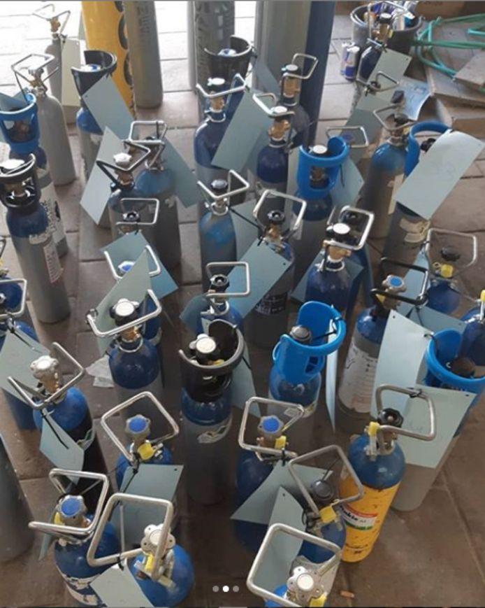 Meer dan 300 liter lachgas gevonden in Eindhoven.