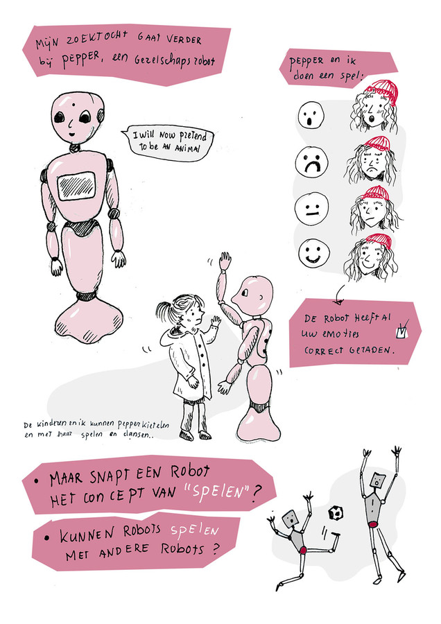 Kort getekend verslag gemaakt van de robots bij de Embassy of Robot love en hun interactie met kinderen.