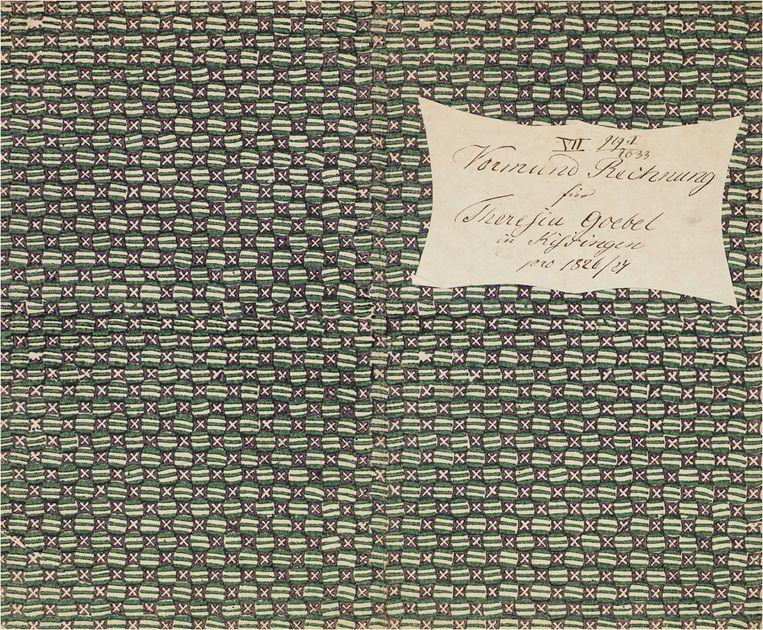 Blokdrukpapier (sitspapier), toegepast als omslag, ca. 1820. Beeld Koninklijke Bibliotheek
