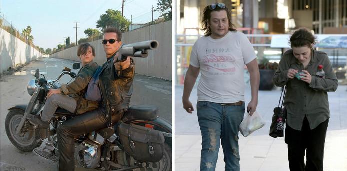 A gauche, Edward Furlong et Arnold Schwarzenegger dans Terminator. A droite, Edward Furlong récemment.