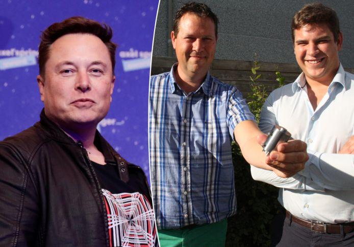 Links: SpaceX-topman Elon Musk. Rechts: Zaakvoerder Bart Vandezande van Anemo Engineering in Diksmuide, samen met sales manager USA Thomas Herroelen.