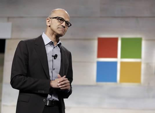 Microsoft-CEO Satya Nadella staat al zeker op het podium.