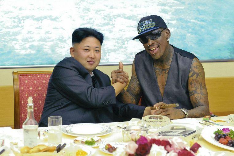 Dennis Rodman op bezoek bij Kim Jong-un Beeld getty