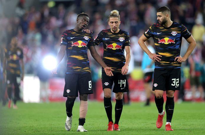 Amadou Haidara, Kevin Kampl en Josko Gvardiol na het nieuwe puntenverlies tegen Köln.