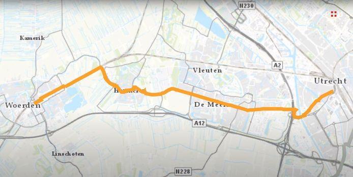 De snelfietsroute van Woerden naar Utrecht.