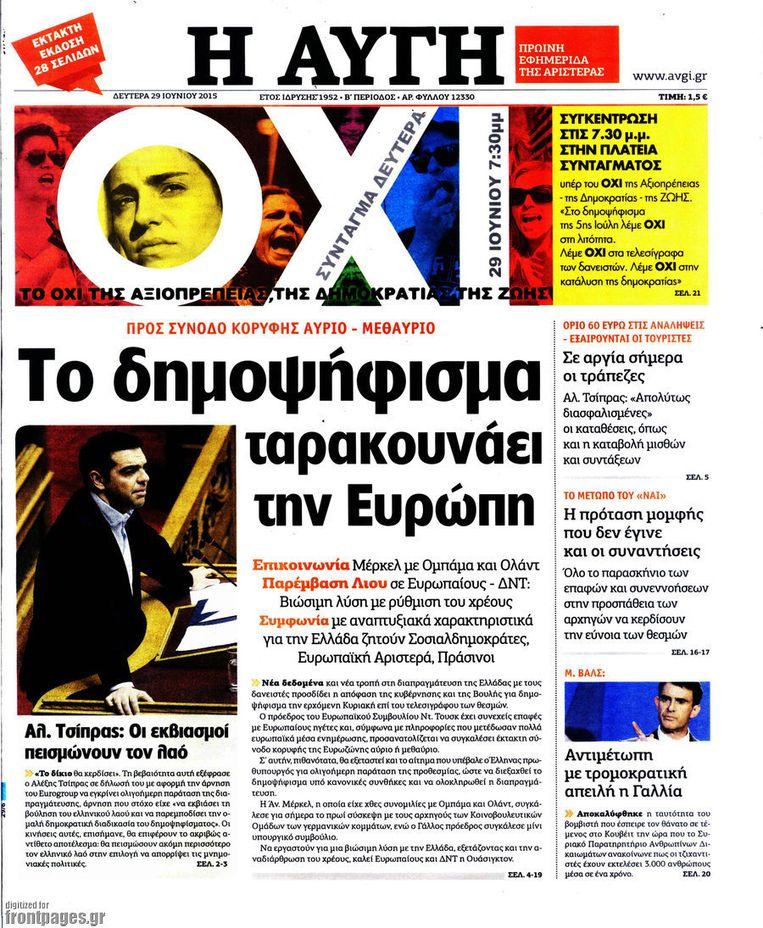 De voorpagina van I Avgi met een grote nee (OXI) boven de titel