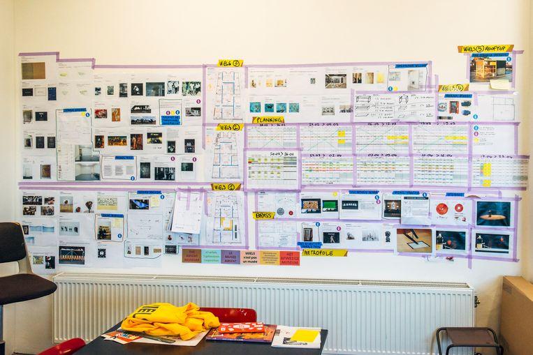 Zo ziet de planning van een expo er op de muur uit.  Beeld Stefaan Temmerman