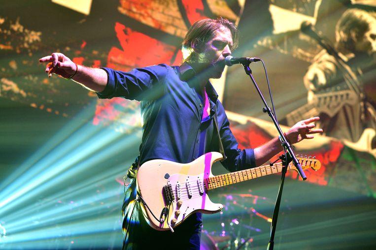 Ed O'Brien tijdens het BBC Radio 6 Music Festival in maart. Beeld Getty Images