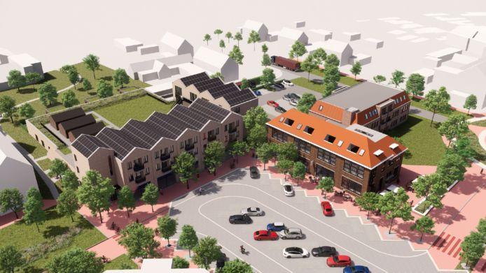 Impressie van het nieuwe marktplein, met links de nieuwe supermarkt met daar boven appartementen. Rechts de Jozefschool, die plaats gaat bieden aan winkels en appartementen.