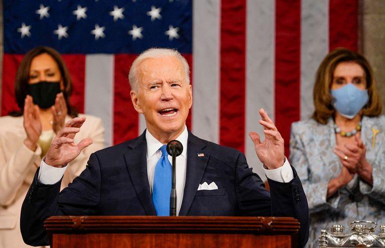 De Amerikaanse president gaf woensdagavond zijn eerste toespraak voor het Congres.  Beeld AFP