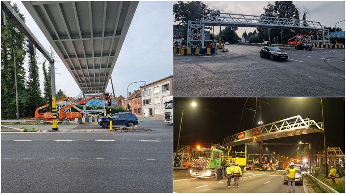 De eerste van drie bruggen voor voetgangers en fietsers over de A8 is tijdens een nachtje door werken geplaatst in Halle.