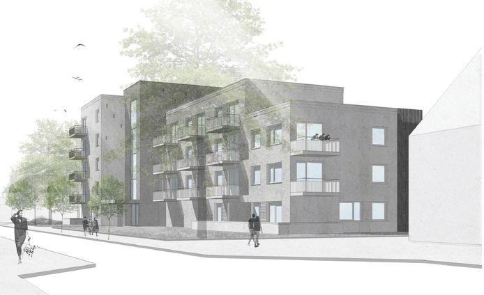 Woonbedrijf gaat 36 appartementen bouwen op de hoek Tinelstraat-Cornelis Dopperstraat (voorgrond) in Eindhoven.