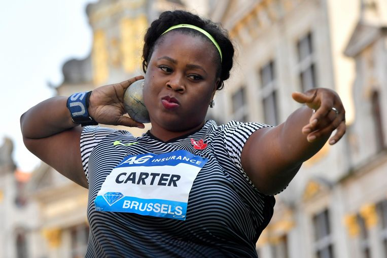 BRUSSELS, BELGIUM - SEPTEMBER 08 : Michelle Carter of the USA pictured during shot put competition of the Diamond League Memorial Van Damme at the Grand Place of Brussels on September 08, 2016 in Anderlecht, Belgium , 8/09/2016 ( Photo by Peter De Voecht / Photonews Beeld Photo News