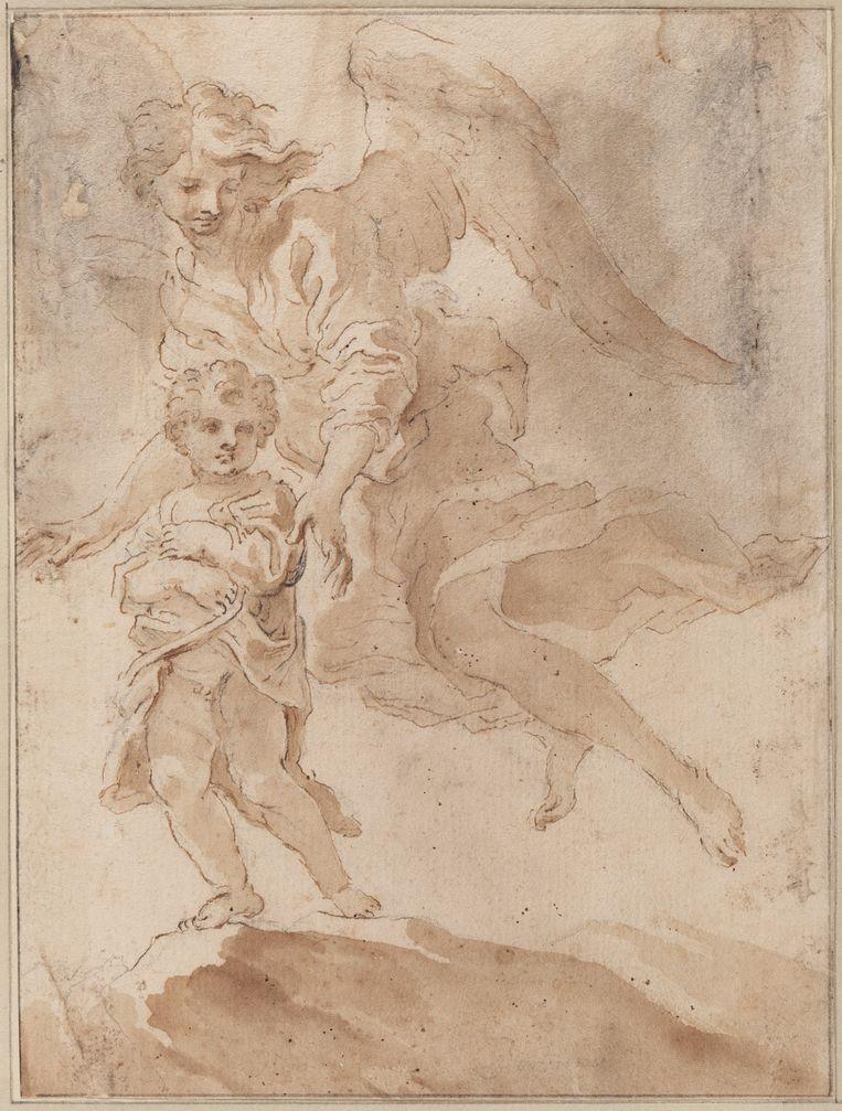 Een kind met een beschermengel. Beeld Collectie Teylers Museum
