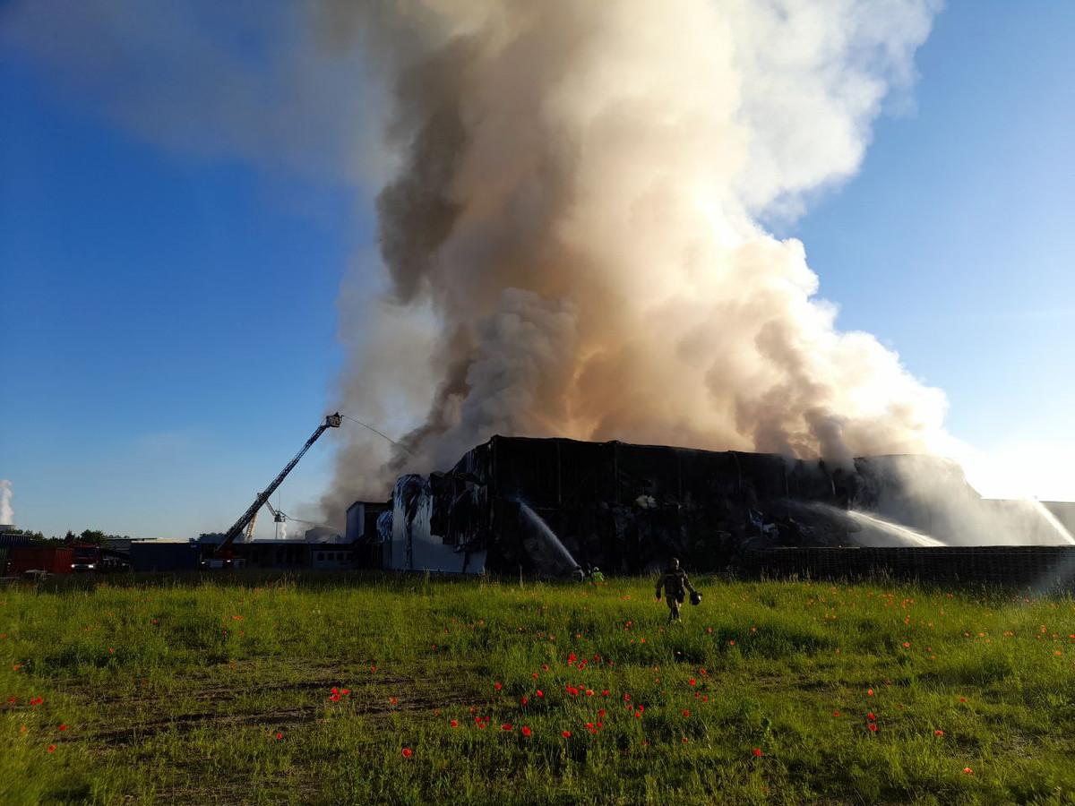 In de nacht van zaterdag op zondag brak een felle brand uit bij Hilton Foods in de Skaldenstraat in Desteldonk.