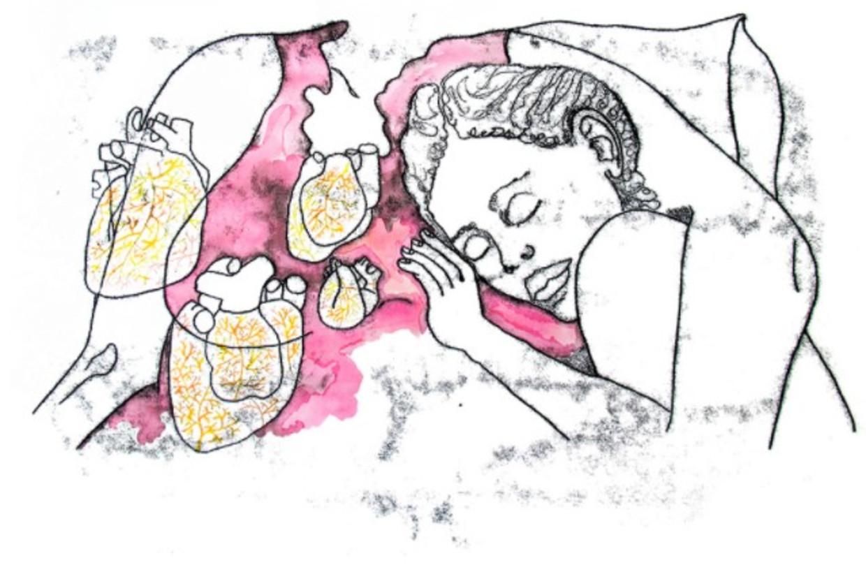 Omhelzingspakket, gemaakt door Emke Idema, met tekeningen van Ank Daamen en geproduceerd door Heelal BV. Beeld tekening Ank Daamen