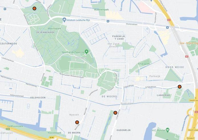 De vier beoogde locaties van de nieuwe middelbare school in Vleuten-De Meern.