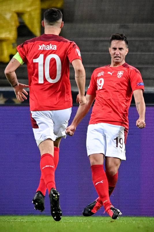 Mario Gavranovic scoorde tegen Duitsland twee keer. Hij verkeert in topvorm.
