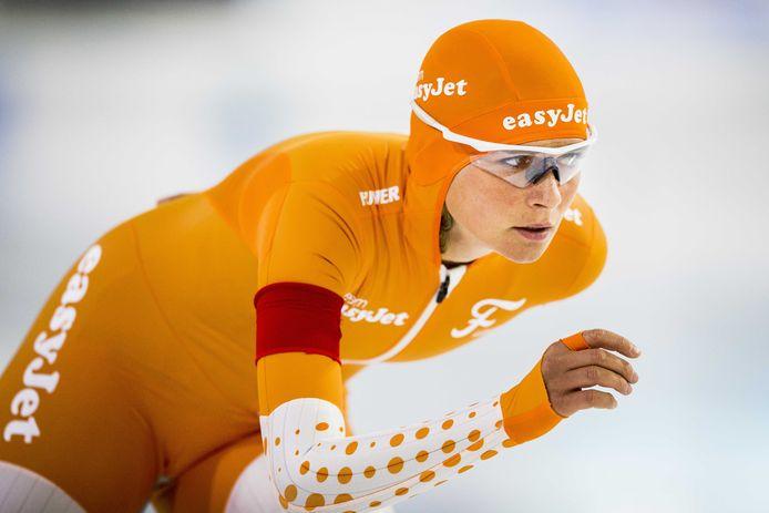 Irene Schouten in actie op de 5000 meter tijdens het World Cup Kwalificatie Toernooi in Thialf, in 2018.