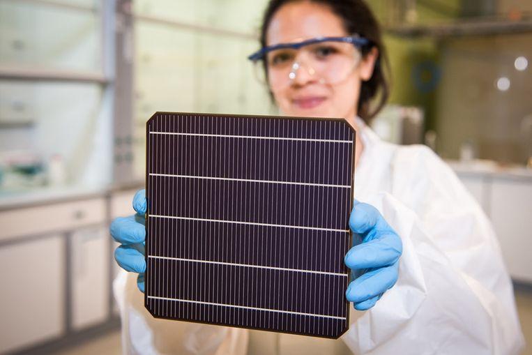 De zonnecellen van Oxford PV hebben een bovenlaagje van perovskiet. Volgend jaar moeten ze op de markt komen. Beeld Oxford PV
