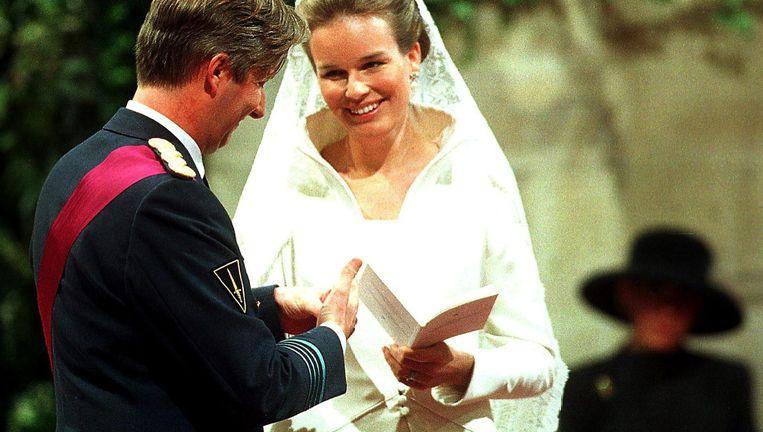 Filip en Mathilde trouwen, zo uniek dat de staking op hun huwelijksdag gebroken kon worden. Beeld © BELGA