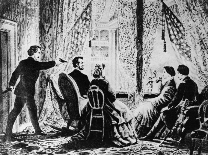 Een prent van de moord. Op 14 april 1865 doodde John Wilkes Booth president Lincoln in het Ford's Theatre in Washington DC.