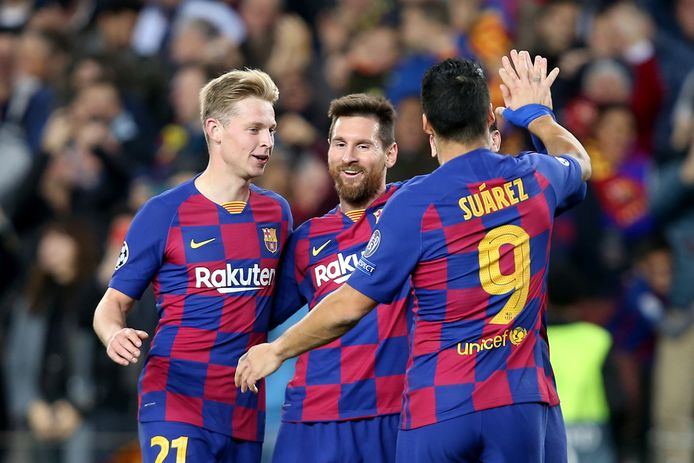 Frenkie de Jong, Lionel Messi en Luis Suárez.