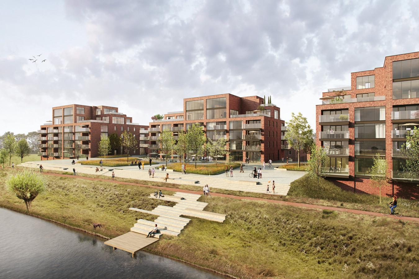 Artist impression van nieuwbouwproject De IJzergieterij in Hardinxveld-Giessendam.
