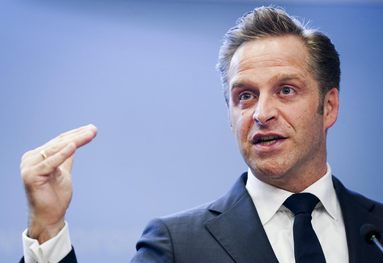 Demissionair minister Hugo de Jonge (Volksgezondheid, Welzijn en Sport, CDA) tijdens de coronapersconferentie.